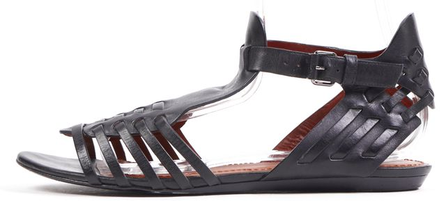 GIVENCHY Black Woven Leather Flat Gladiator Sandals