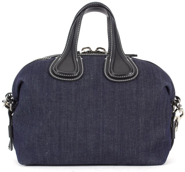 GIVENCHY Blue Black Denim Leather Trim Nightingale Small Satchel Bag
