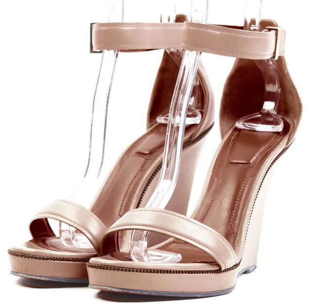 GIVENCHY Beige Leather Zipper Trim Sandal Wedges Size