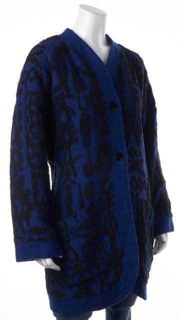 GIVENCHY Blue Black Abstract Wool Knit Basic Jacket Coat