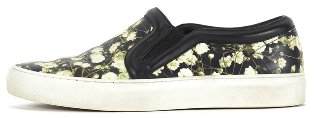 GIVENCHY Black Green Floral Printed Leather Slip On Sneakers Size EU 37.5 US 7.5