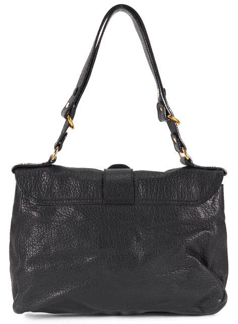 GIVENCHY Black Pebbled Leather Gold-Tone Hardware Flap Shoulder Bag