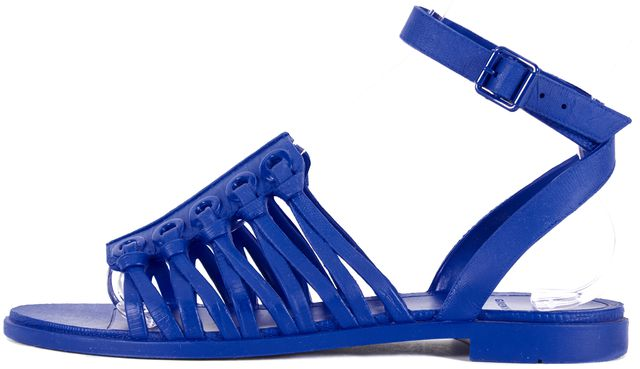 GIVENCHY Blue Snake Embossed Matte Leather Sandals