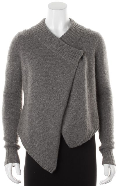 GIVENCHY Gray Cashmere Mohair Single Snap Asymmetrical Cardigan Sweater