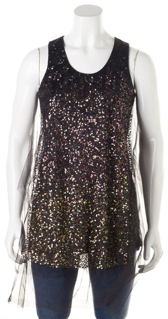 GIVENCHY Black Purple Gold Sequin Tulle Overlay Tank Top