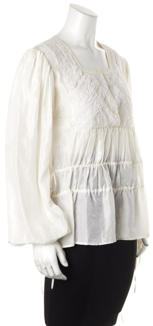 GIVENCHY White Silk Long Sleeve Ruffled Boho Peasant Blouse Top
