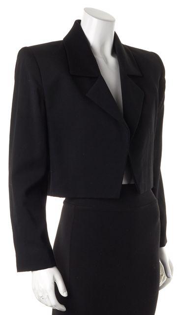 GIVENCHY Black Cropped Square Shoulder Open Blazer