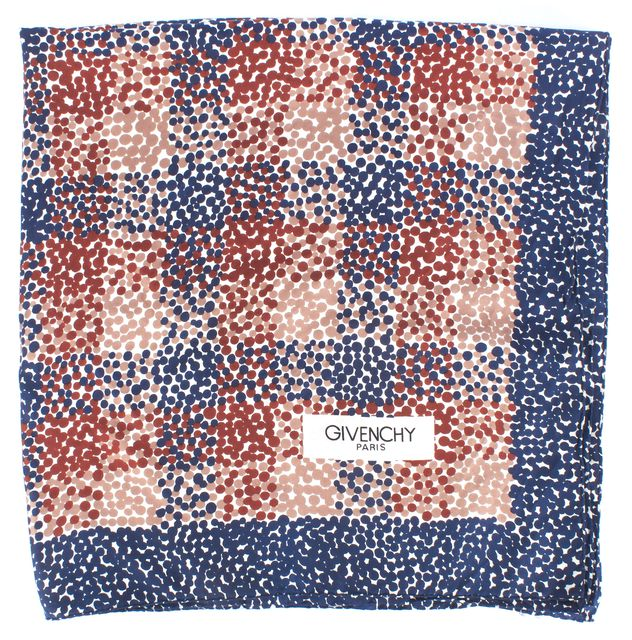 GIVENCHY Blue Beige White Red Polka Dot Abstract Silk Scarf