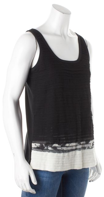 GIVENCHY Black White Silk Combo Abstract Tiered Tank Blouse