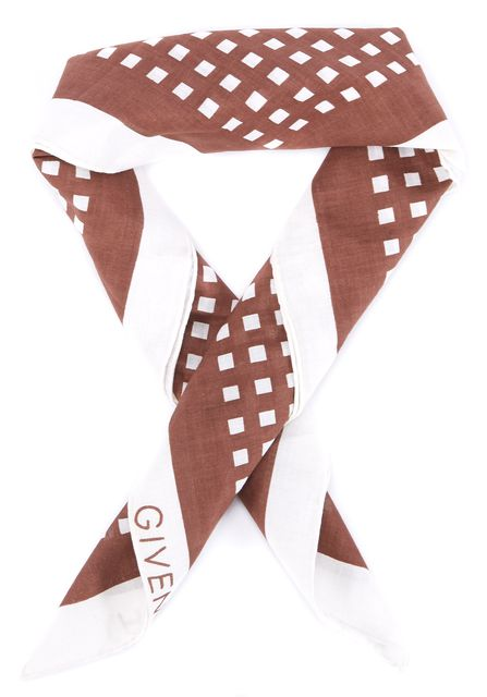 GIVENCHY Brown White Geometric Square Detailed Scarf