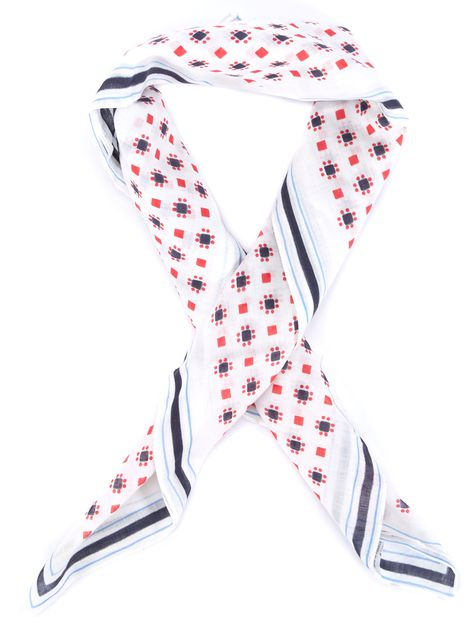GIVENCHY White Red Blue Black Abstract Scarf