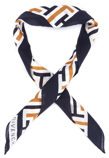 GIVENCHY Black Orange White Abstract Scarf