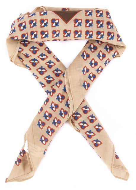 GIVENCHY Brown Beige Blue Red White Abstract Scarf