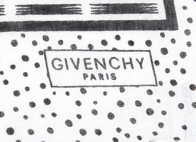 GIVENCHY White Black Abstract Polka Dot Detailed Scarf