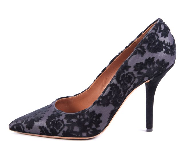GIVENCHY Black Velvet Escarpin 10 Lace Pump Heels Size 39.5 US 9.5