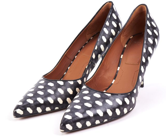 GIVENCHY Black White Geometric Leather Stilettos Pumps Heels