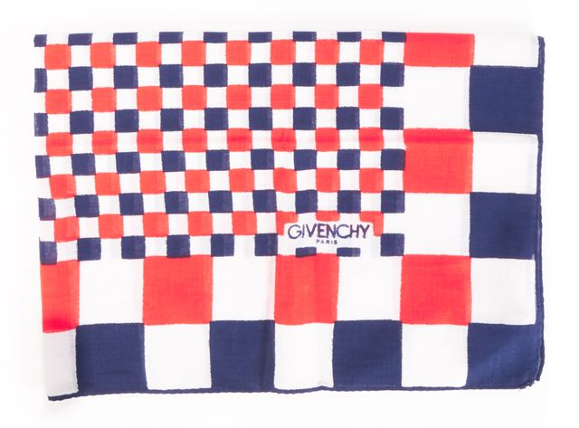 GIVENCHY Red/Blue Square Check Scarf