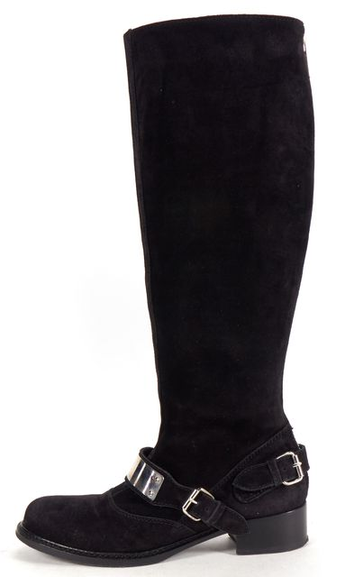 GIAMBATTISTA VALLI Black Suede Leather Silver Detail Knee-high Boots
