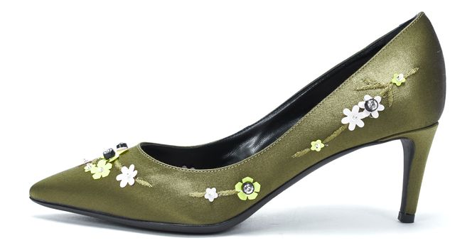 GIAMBATTISTA VALLI Olive Satin Floral Embellished Pointed Toe Heels