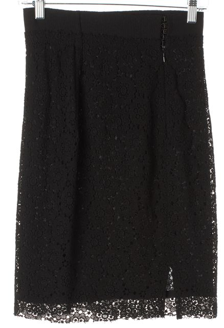GIAMBATTISTA VALLI Black Floral Crochet Wool Pencil Skirt