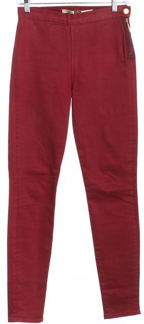 GIAMBATTISTA VALLI Dark Pink Side Zip Skinny Jeans