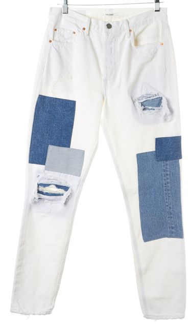 GRLFRND White Blue Patchwork Karolina Skinny High Waist Jeans