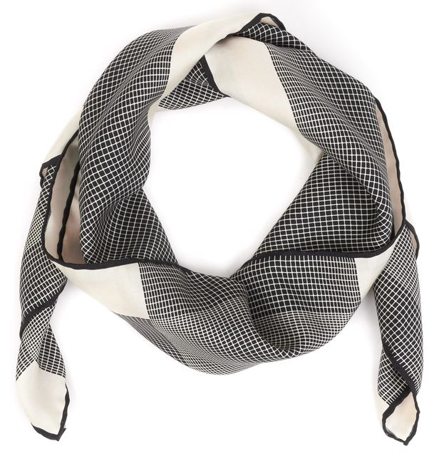 GUCCI Beige Black Check Silk Square Scarf