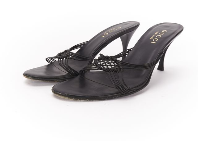 GUCCI Black Leather Braided Design Pump Heel Sandals