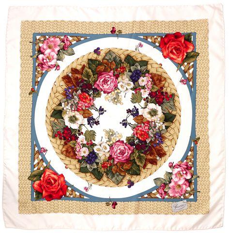 GUCCI White Multi Color Floral Print 100% Silk Scarf