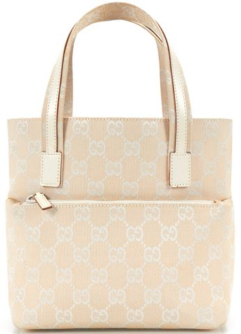 GUCCI Ivory White GG Canvas Small Tote Shoulder Handbag