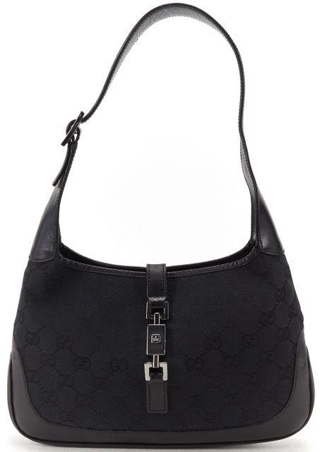 GUCCI Black Fabric Leather Monogram GG Jackie O Shoulder Bag