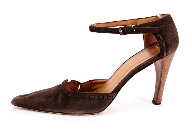 GUCCI Brown Suede Pointed-toe Ankle Strap Heels