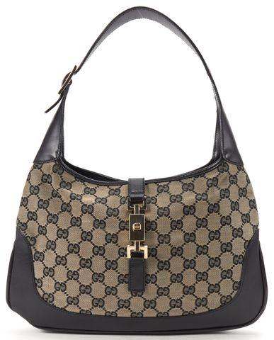 GUCCI Navy Blue Black GG Canvas Jackie Hobo Shoulder Handbag
