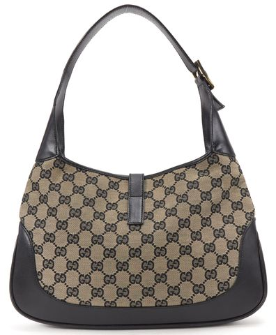 GUCCI Navy Blue Black GG Canvas Jackie Hobo Shoulder Handbag
