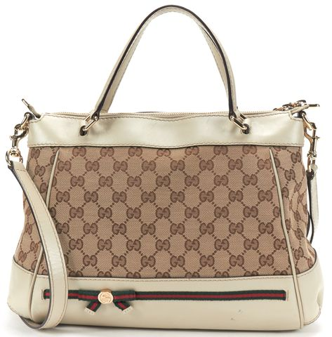 GUCCI Beige GG Canvas Web Bow Mayfair Satchel Handbag