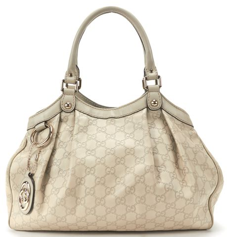 GUCCI Gray GG Guccisima Leather Sukey Shoulder Bag