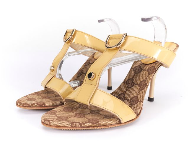 GUCCI Light Yellow Patent Leather Caged Mule Heels