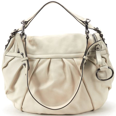 GUCCI Ivory Leather Flap Zip Closure Hobo Bag