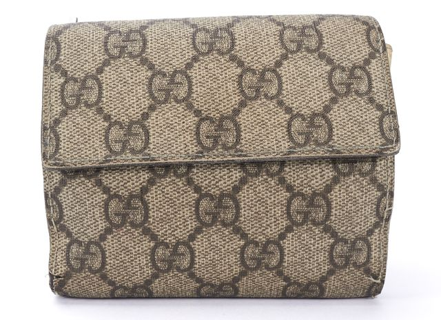GUCCI White Brown Coated Canvas GG Bi Fold Compact Wallet