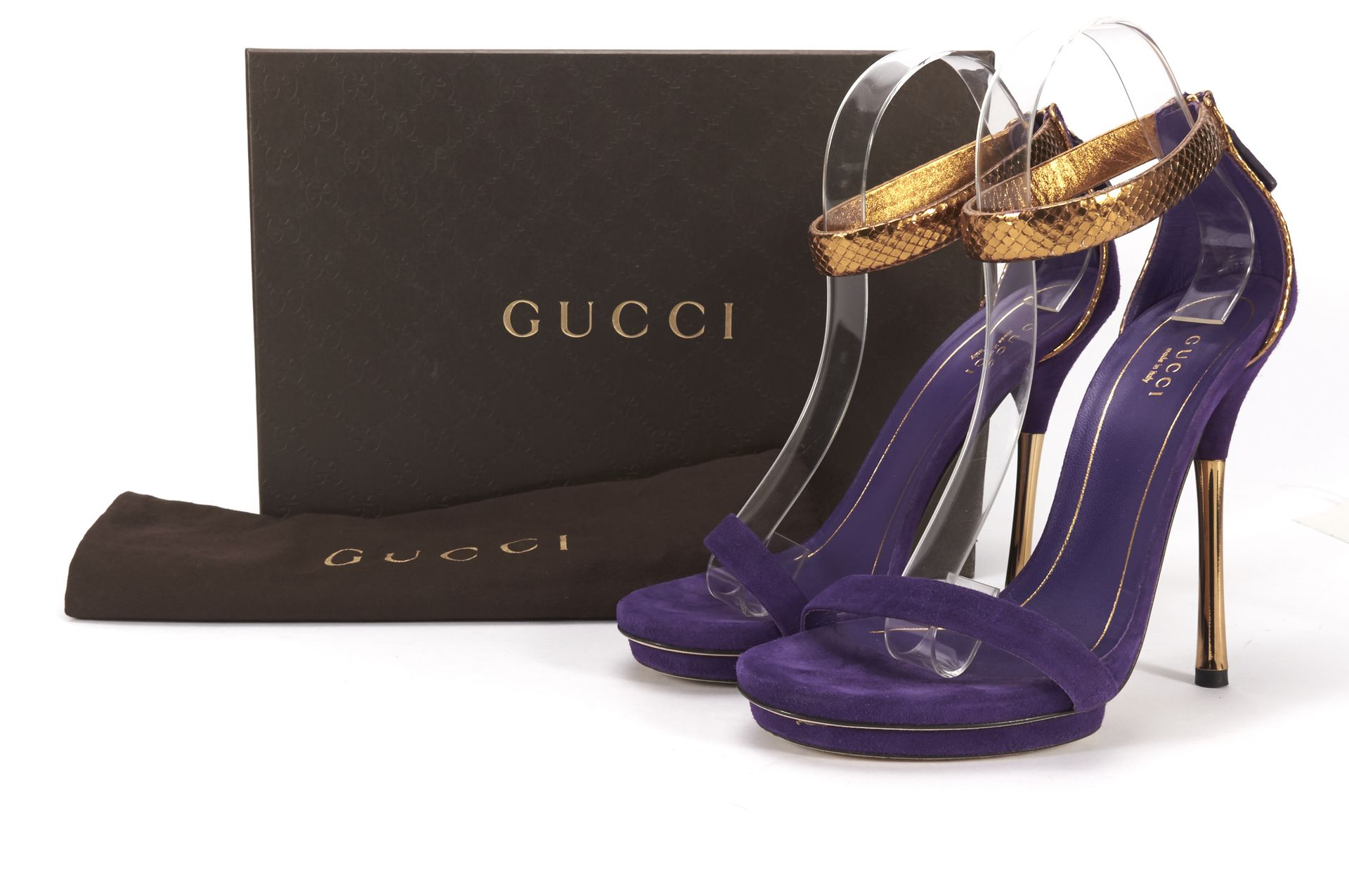 GUCCI Purple Suede Gold Snakeskin Strappy Sandal Heels Size 38 ...