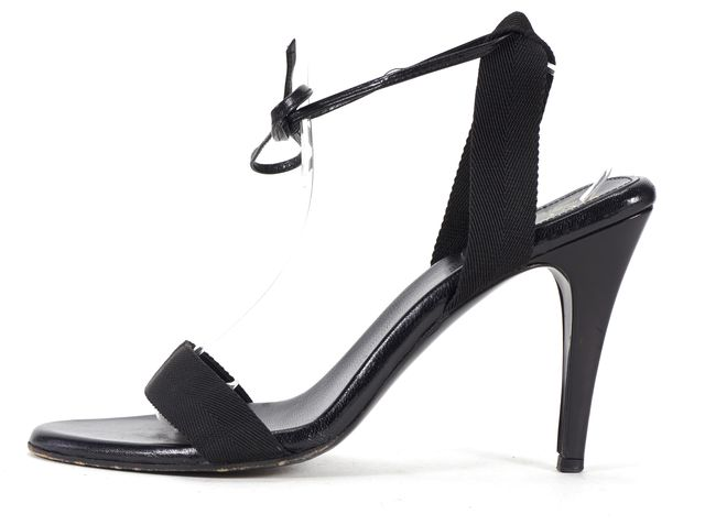 GUCCI Black Casual Canvas Minimal Thin Ankle Strap Classic Sandals