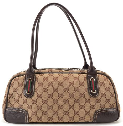 GUCCI Brown GG Canvas Web Princy Boston Shoulder Handbag