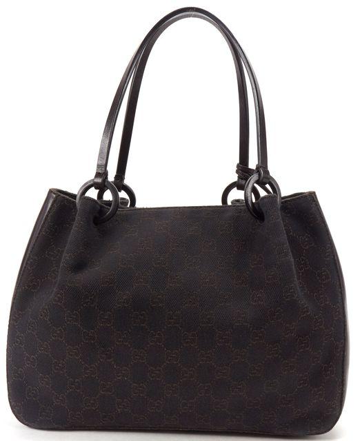 GUCCI Brown GG Monogram Denim Canvas Shoulder Handbag w/ Pouch