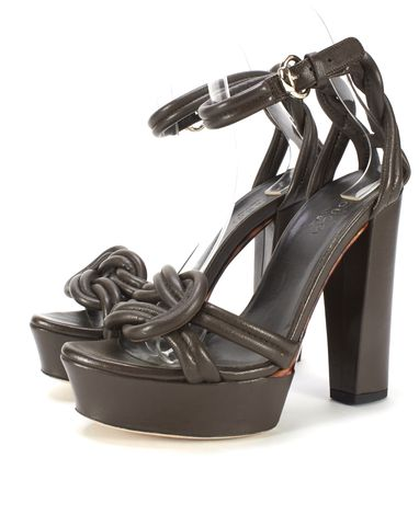 GUCCI Brown Leather Knot Detail Platform Block Heel Sandals