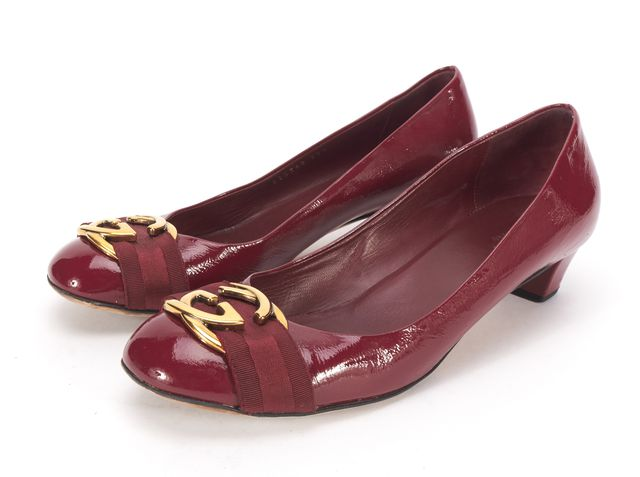 GUCCI Red Patent Leather Gold GG Logo Low Block Heel Pumps