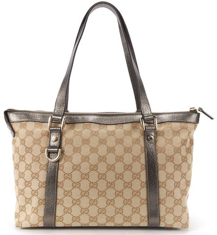 GUCCI Brown Metallic GG Canvas Abbey D Ring Tote Handbag