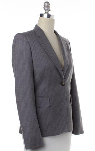 GUCCI Gray Pinstriped Single Button Wool Blazer