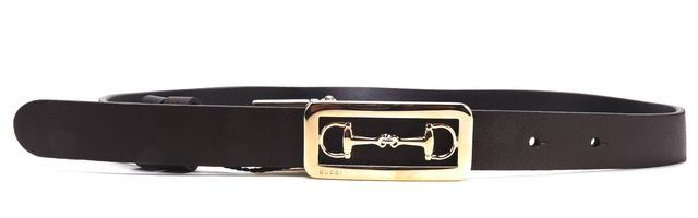 GUCCI NWT Dark Brown Leather Gold Horsebit Buckle Belt