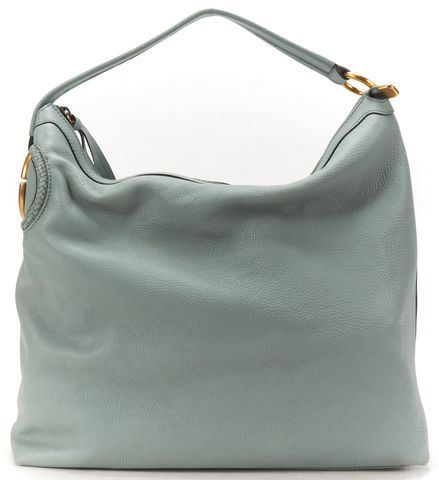 GUCCI Light Blue Leather Twill Hobo Bag
