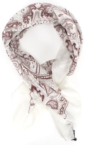 GUCCI Red White Paisley Printed Square Scarf